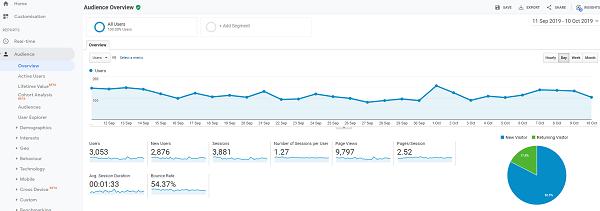 Google Analytics Audience Screen.