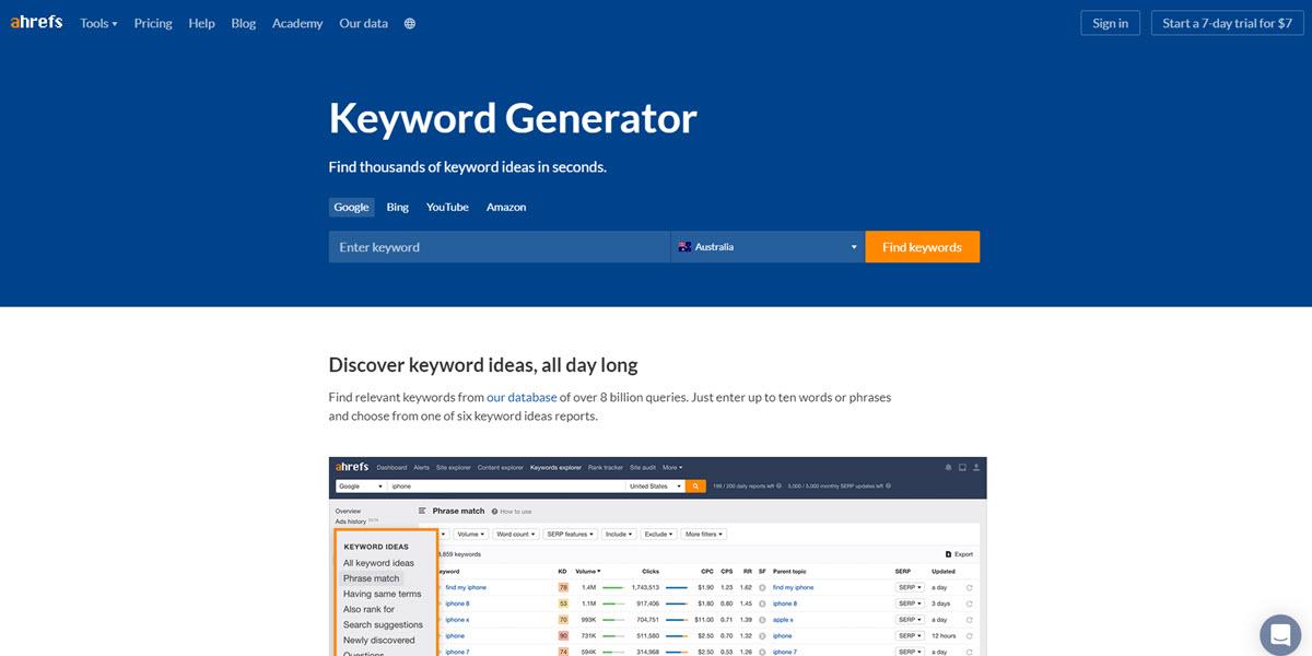 Keyword Generator ahrefs keyword research tool.