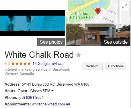 white chalk road google listing.
